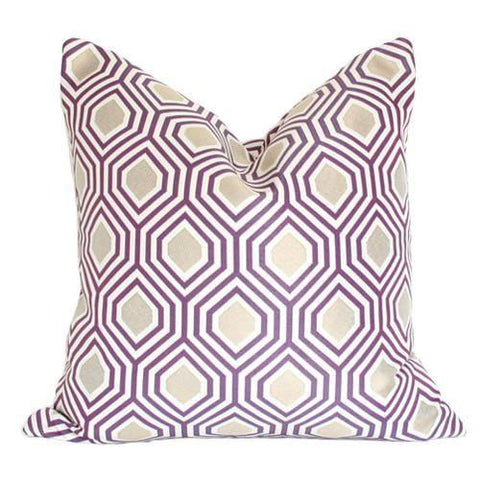 Hexagon Purple & Gold Custom Designer Pillow | Arianna Belle