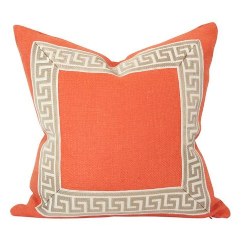 Orange Linen with Greek Key Border