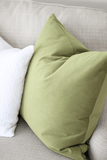 Apple Green Velvet Pillow / Home of Megan Stokes of Holy City Chic