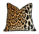 Leopard Velvet Pillow with Black Piping