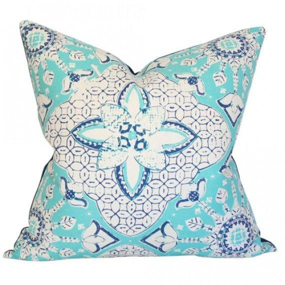 New Batik Turquoise and Navy on Tint pillow