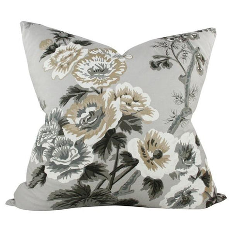 Pyne Hollyhock Grisaille Custom Designer Pillow | Arianna Belle
