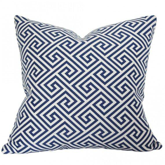 St Tropez Greek Key Navy Custom Designer Pillow | Arianna Belle