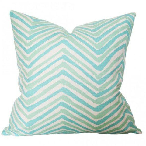 Zig Zag Aqua Light Turquoise Custom Designer Pillow | Arianna Belle