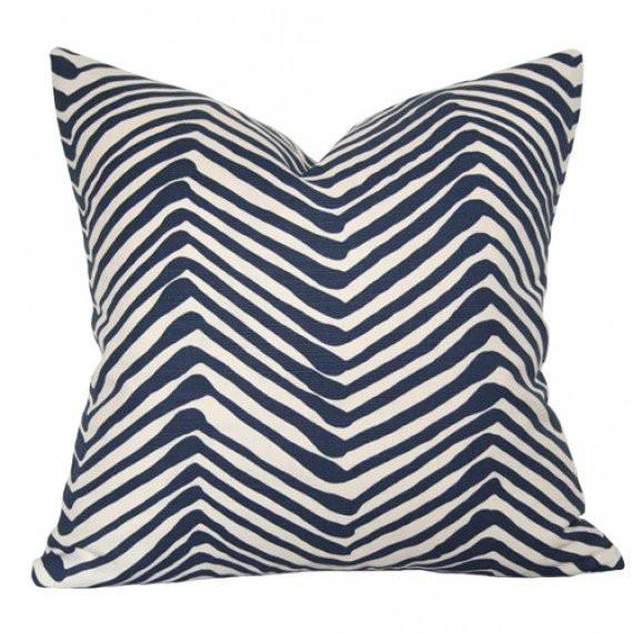 Zig Zag Navy On Tint pillow