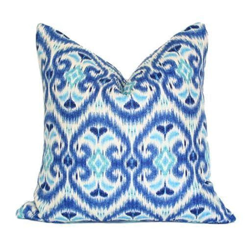 Blue & Turquoise Ikat Custom Designer Pillow | Arianna Belle