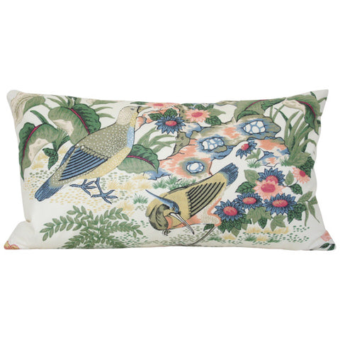 Anshun Paprika and Blue Birds lumbar Custom Designer Pillow | Arianna Belle