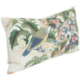 Anshun Paprika and Blue Birds lumbar Custom Designer Pillow side view | Arianna Belle