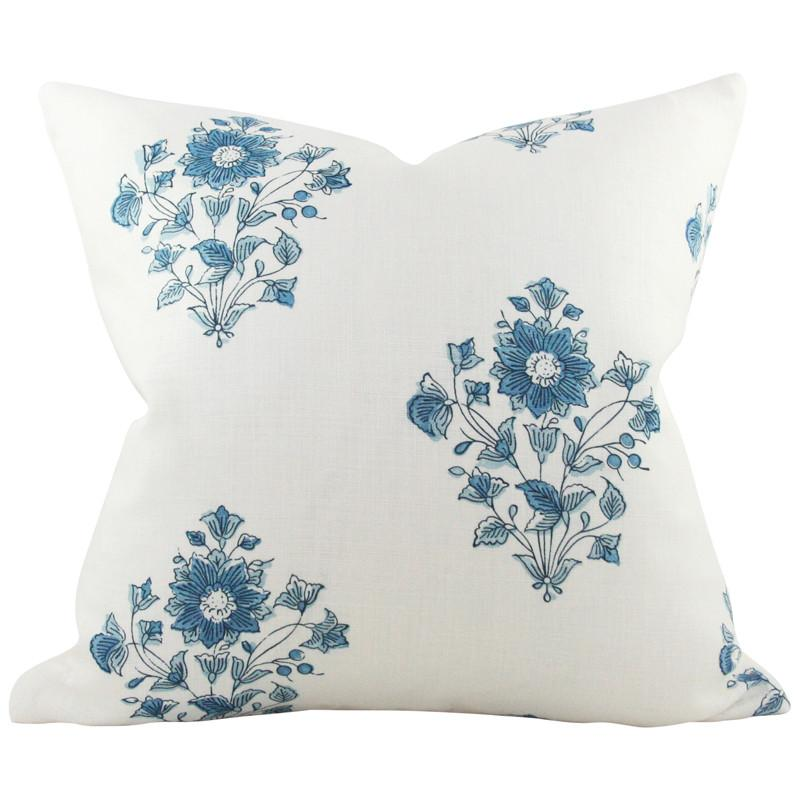 Beatrice Bouquet Indigo Custom Designer Pillow | Arianna Belle