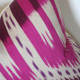Bukhara Ikat Fuchsia Custom Designer Cushion detailed view | Arianna Belle
