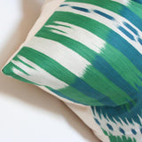 Bukhara Ikat Emerald & Peacock Custom Designer Cushion detailed view | Arianna Belle