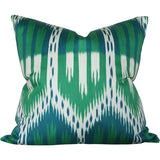 Bukhara Ikat Emerald & Peacock Custom Designer Pillow | Arianna Belle