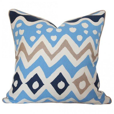 Cap Ferrat Multi Blues Custom Designer Pillow | Arianna Belle