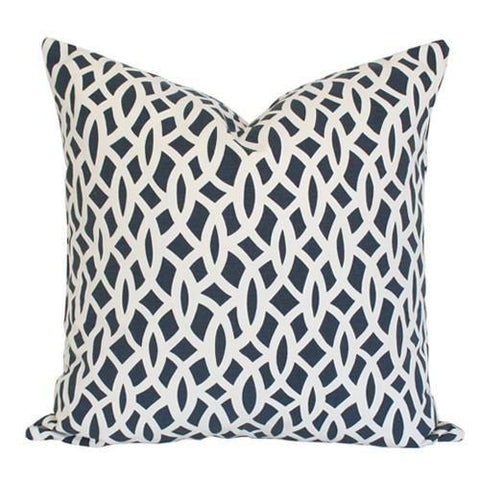 Chain Link Navy Custom Designer Pillow | Arianna Belle