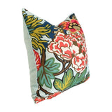 Chiang Mai Aquamarine pillow with aquamarine velvet solid back