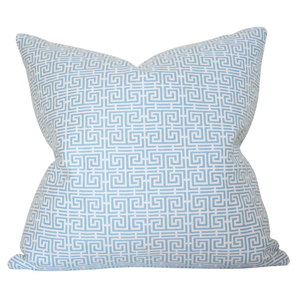 Chinois Fret Sky Blue & Ivory Custom Designer Pillow | Arianna Belle