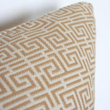 Chinois Fret Camel & Cream Custom Designer Pillow detailed view | Arianna Belle
