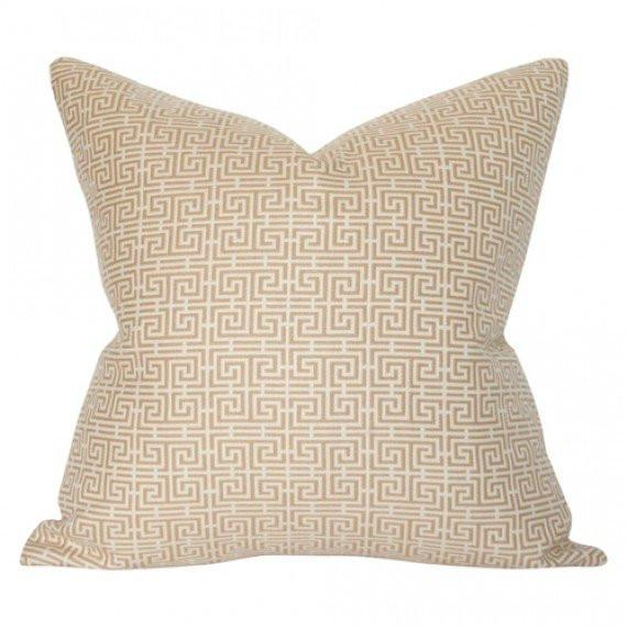 Chinois Fret Camel & Cream Custom Designer Pillow | Arianna Belle
