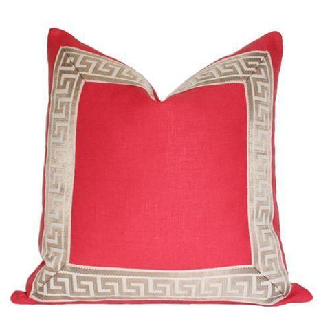 Coral with Greek Key Border Custom Designer Pillow | Arianna Belle