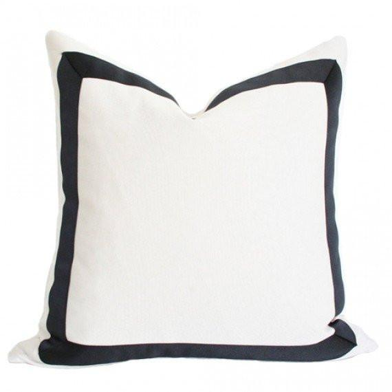 Solid White With Grosgrain Ribbon Border Pillow Cover