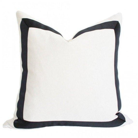 Solid White with Grosgrain Ribbon Border pillow