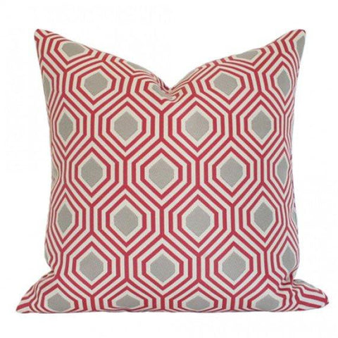 Hexagon Red Custom Designer Pillow | Arianna Belle
