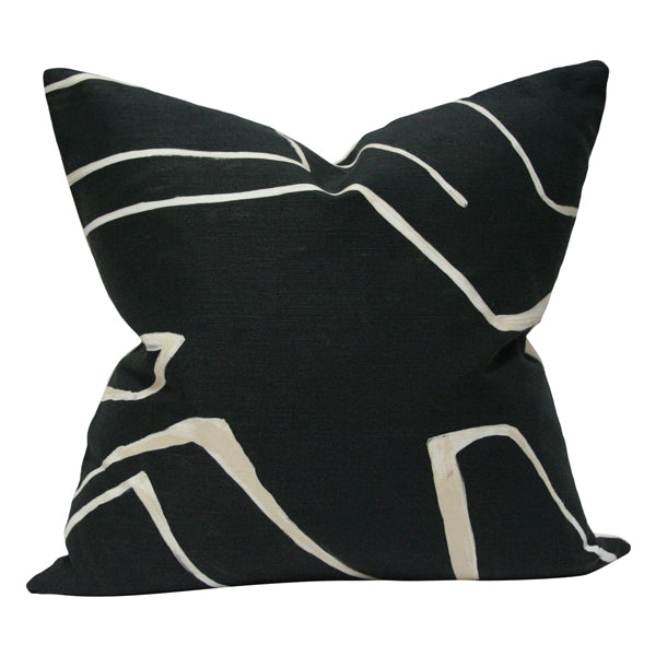 Graffito Onyx & Cream Custom Designer Pillow | Arianna Belle