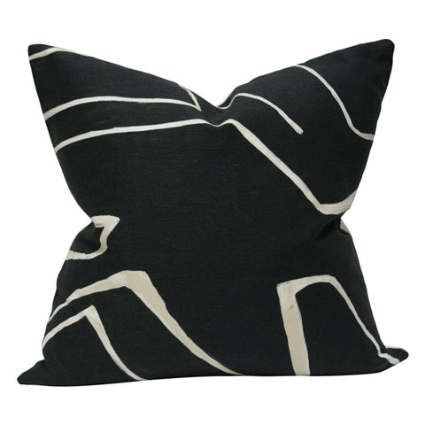 Graffito Onyx Black and Cream designer pillow from Arianna Belle Shop