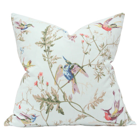 Hummingbirds Duck Egg Custom Designer Pillow | Arianna Belle