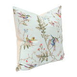 Hummingbirds Duck Egg Custom Designer Pillow side view | Arianna Belle