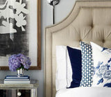 Betwixt Indigo Blue Custom Designer Pillow on bed with Pyne Hollyhock Indigo Designer Pillow | Arianna Belle