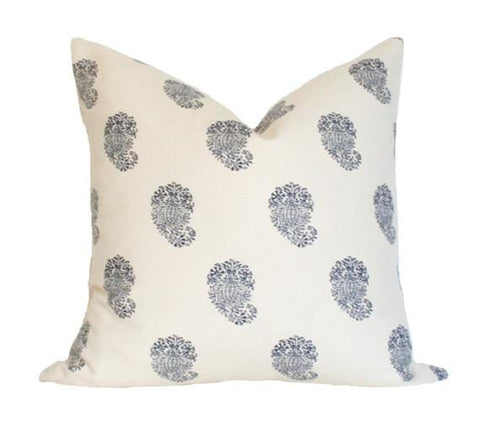Bangalore Paisley Navy pillow cover