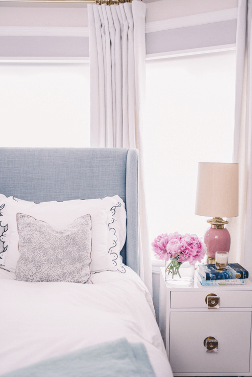 Gal Meets Glam bedroom with Confetti Cream pillows with Rose French Piping from Arianna Belle