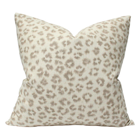 Leopard Linen Taupe & Ivory
