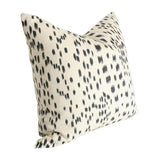 Les Touches Black Custom Designer Pillow side view | Arianna Belle