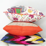 Mahout Multi, Coral with Greek Key Border, & Adras Ikat Custom Designer Pillow combo | Arianna Belle