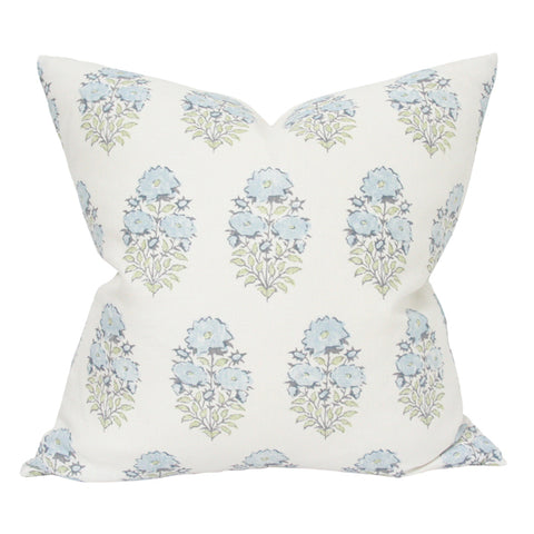Mughal Flower Monsoon Blue and Green designer pillow from Arianna Belle Shop