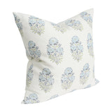 Mughal Flower Monsoon Blue and Green designer pillow from Arianna Belle Shop - side view