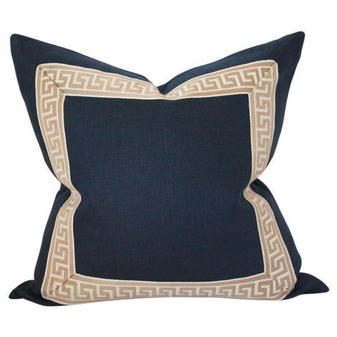 Navy Linen with Greek Key Border Custom Designer Pillow | Arianna Belle