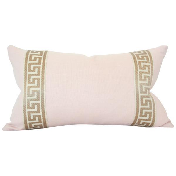 Pale Pink Linen with Greek Key Border lumbar Custom Designer Pillow | Arianna Belle