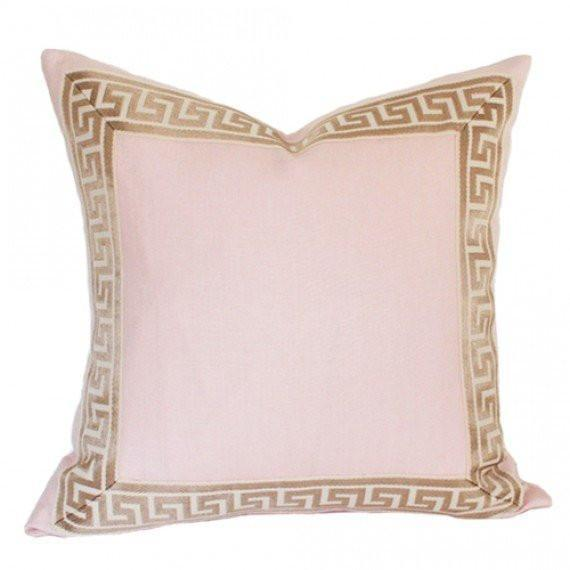 Pale Pink Linen with Greek Key Border Custom Designer Pillow | Arianna Belle