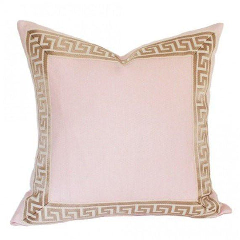 Pale Pink Linen with Greek Key Border *Pre-Order*