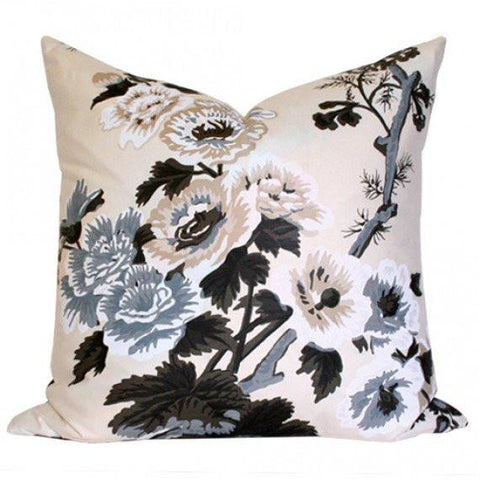 Pyne Hollyhock Charcoal Custom Designer Pillow | Arianna Belle