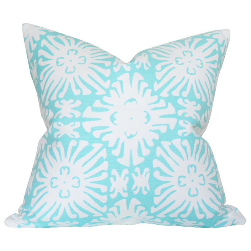 Sigourney Reverse Small Scale Turquoise on White Custom Designer Pillow | Arianna Belle