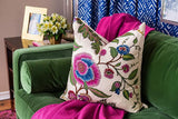 Sinhala Linen Jewel Custom Designer Pillow on sofa | Arianna Belle