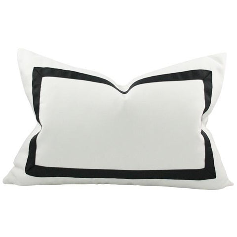 Solid White with Grosgrain Ribbon Border lumbar Custom Designer Pillow | Arianna Belle