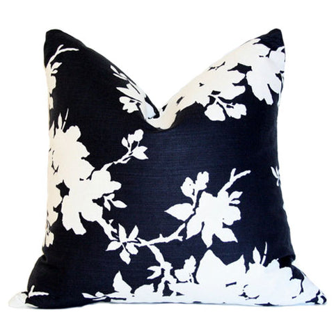 Designer Pillow - Blueish Black with White Floral Silhouette