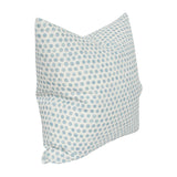 Tika Dot Sky Blue designer pillow from Arianna Belle Shop | side view