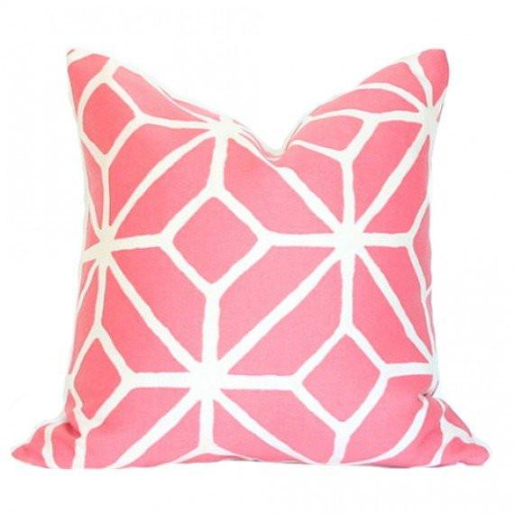 Trellis Print Watermelon Custom Designer Pillow | Arianna Belle