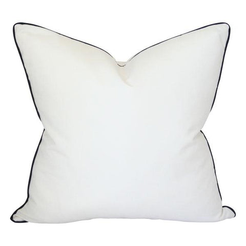 Solid White with Black Piping Custom Designer Pillow | Arianna Belle
